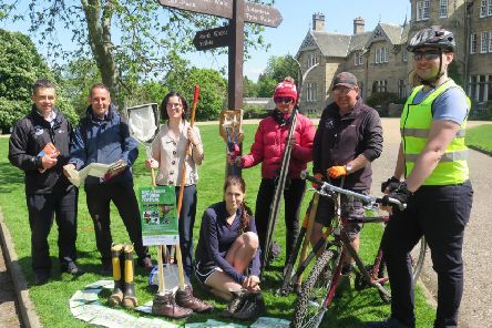 Midlothian Ranger Service and other council staff involved in the Outdoor Festival at Vogrie Country Park to mark the launch.
