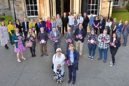All the winnners at the Volunteers' Week Awards ceremony at Newbattle Abbey College.