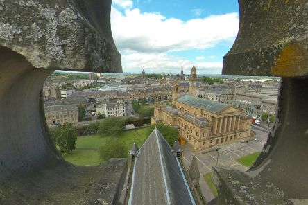 Spectacular views...from Paisley Abbey's tower but visitors have to climb more than 100 steps to enjoy them. However, a virtual video has been created to allow access to all - digitally.