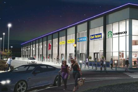 An artist's impression of the new retail terrace at Straiton Retail Park.