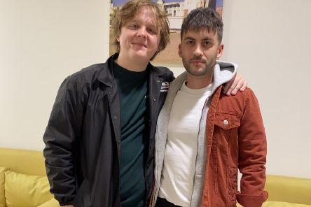 Lewis Capaldi and Danderhall singer songwriter Greg Pearson in Dubai.