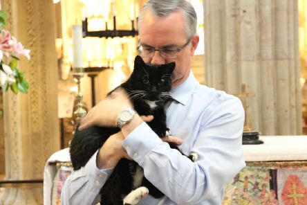 Ian Gardner, director, Rosslyn Chapel Trust, with William the Cat.
