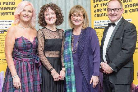 Event host Alison Walker, Interim CEO of Beatson Cancer Charity Alison McGregor, Dame Elish Angiolini & comedian / after dinner speaker Eric Davidson attend Beatson Cancer Charity's fundraising event The Bard & His Belles at Glasgow Hilton on 18th January 2019
