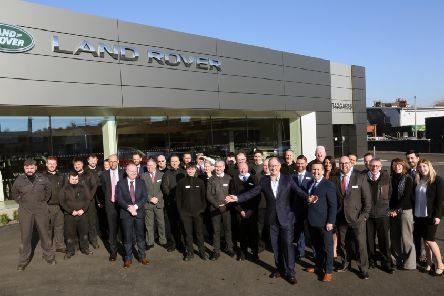 Lookers CEO Andy Bruce joins the team at Taggarts Land Rover Lanarkshire for the launch of the new dealership. Pic: Stewart Robertson