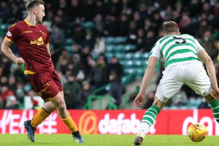 Motherwell's Allan Campbell in action on the Fir Park side's last visit to Celtic Park in December, which saw the Hoops run out comfortable 3-0 winners (Pic by Ian McFadyen)