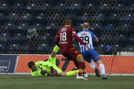 Mark Gillespie makes a low save for Motherwell at Kilmarnock (Pic by Ian McFadyen)