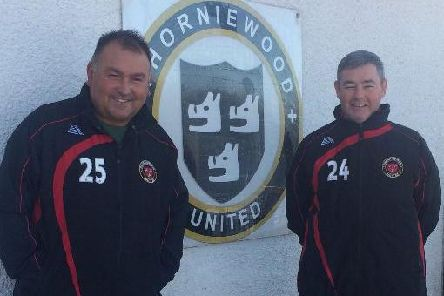 James McKenna (left) and his Thorniewood United assistant boss Keith Docherty are leaving after 18 months at the Viewpark club