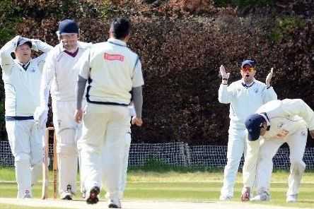Skipper and wicket keeper Bryan Clarke (1st left) and his Uddingston mates are just a single victory away from their first Western District Cricket Union Premier Division title success since 2013 (Library pic)
