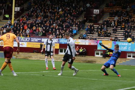 Chris Long rifles in his third Motherwell goal in Saturdays 2-0 success over St Mirren (Pic by Ian McFadyen)