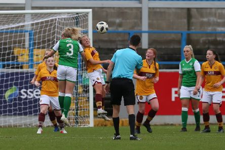 Action from Hibernian Ladies 4-1 Motherwell Women Scottish Cup semi-final  (picture:Ian McFadyen)