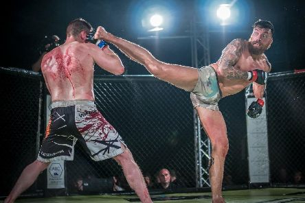 Bungard (right) in MMA action