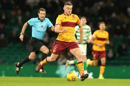Allan Campbell attempts to drive Motherwell forward at Celtic Park (Pic by Ian McFadyen)