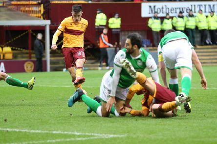 Motherwell youngster Ross MacIver shoots at goal during Saturday's 0-0 draw against Hibs (Pic by Ian McFadyen)