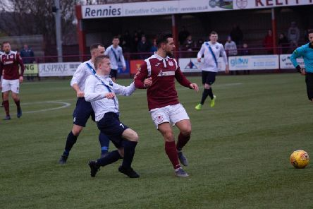 Action from Caledonian Braves 4-1 defeat at Kelty Hearts (Pic by Roy Campbell)
