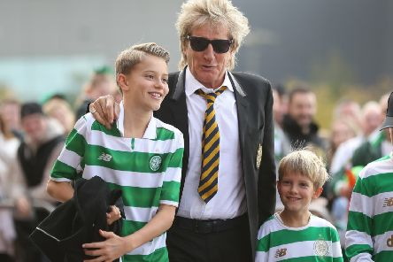Rod Stewart and his children arrive at Parkhead before the Celtic v Hibs game. Picture: Getty Images