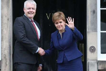 Scotland's First Minister Nicola Sturgeon welcomes her Welsh counterpart Carwyn Jones to Bute House in Edinburgh ahead of a meeting to discuss their concerns about Westminster's Brexit bill. Picture: PA
