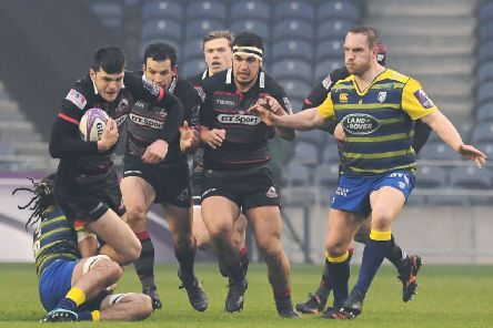 Blair Kinghorn tries to make a break through the Cardiff defence. Picture: SNS/SRU