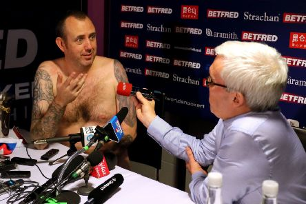 Mark Williams conducts his post match interview in the nude. Picture: Richard Sellers/PA Wire