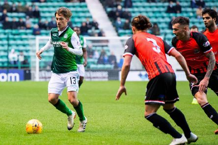 Ryan Gauld finds some space during Hibs' comfortable win over Elgin City on Saturday. Picture: SNS