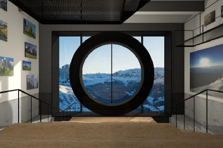 The interior of the new Lumen Mountain Photography Gallery in Kronplatz, Italy