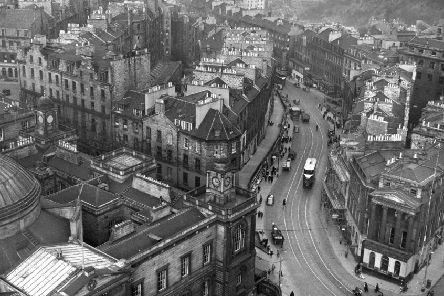 Leith Street from Clock Tower of North British Hotel in the 1960s.