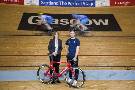 Dame Katherine Grainger and Scots cycling star Callum Skinner on the track at the Sir Chris Hoy Velodrome. Picture: Bill Murray/SNS