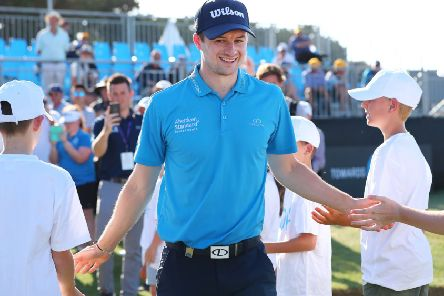 David Law makes his way to the presentation ceremony after winning the ISPS Handa Vic Open at 13th Beach Golf Club in Australia. Picture: Michael Dodge/Getty Images