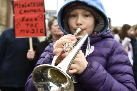 And the music will play on: protesters outside Midlothian Council (Picture: Lisa Ferguson)