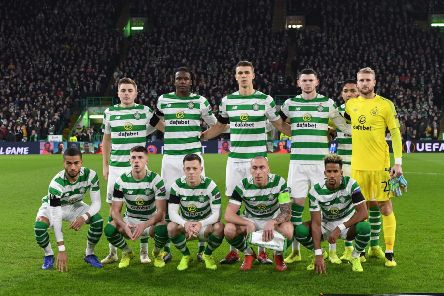 The Celtic starting XI line-up before the game. Picture: SNS