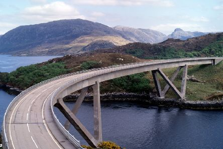 The Kylesku Bridge in Sutherland has now officially  been renamed in Gaelic and will be known as Drochaid a' Chaolais Chumhaing. PIC: HES.