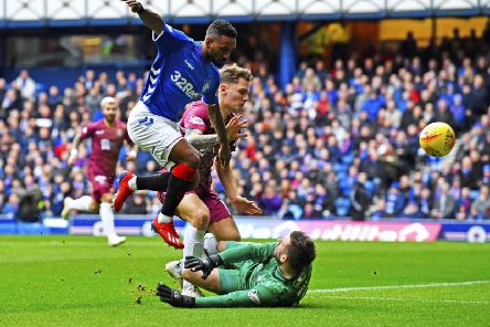 Rangers' Jermain Defoe has a chance to score in the first half. Pic: SNS/Rob Casey