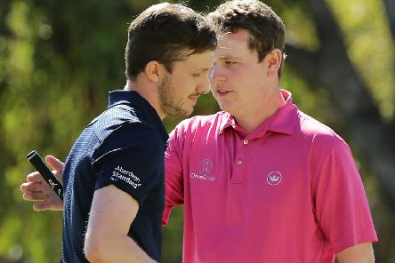 Connor Syme is congratulated by fellow Scot Bob MacIntyre during the ISPS Handa World Super 6 Perth at Lake Karrinyup. Picture: Will Russell/Getty