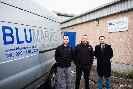 Left to right: David Bingham, projects and logistics at Blu Marine; Darren Brown, senior project manager at Blu Marine; and Andrew Bowman, head of business investment and operations Ri. Picture: Contributed.
