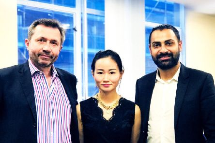 From left: Ledger Listings' Daniel Broby, Icy Zhang and Amandeep Sahota. Picture: Contributed
