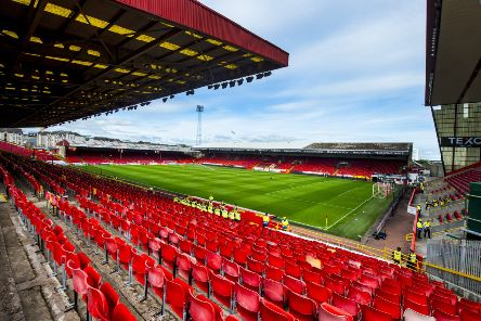 A general view of the away section at Pittodrie ahead of the Aberdeen-Rangers match. Picture: SNS Group