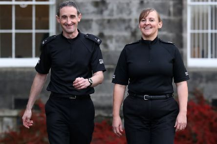 Police Constables Laura Sayer and Kenneth MacKenzie, who were seriously injured during an incident in Greenock, received an award for bravery. Picture: Andrew Milligan/PA Wire