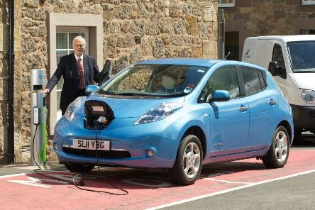 A Nissan LEAF being recharged in East Lothian