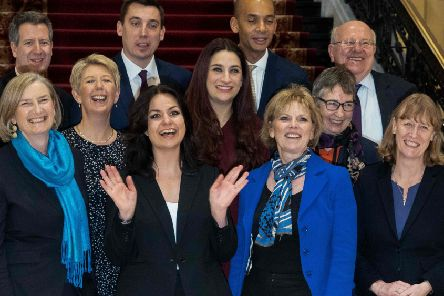 Former Conservative and Labour members of the new grouping gather for photographs after a press conference last Wednesday. Photograph: Niklas Halle'n/Getty