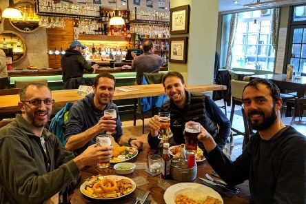 Swiss national Mathieu Biselx, second from right, with fellow climbers Raph, Cedric and Adrien who perished on Ben Nevis