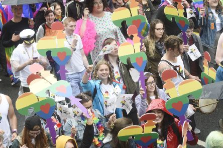 Last year's Pride march in Edinburgh attracted crowds, but some LGBTQ+ young people are still facing stigma and rejection. Picture: Greg Macvean