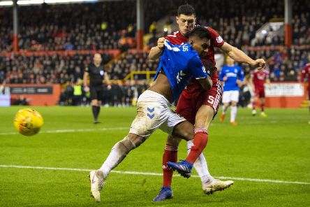 06/02/19 LADBROKES PREMIERSHIP'ABERDEEN V RANGERS (2-4)'PITTODRIE - ABERDEEN'Rangers' Alfredo Morelos and Scott McKenna are both sent off after a coming together