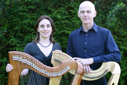 Billy Jackson'with his wife, also a harpist, Grainne  Hambly