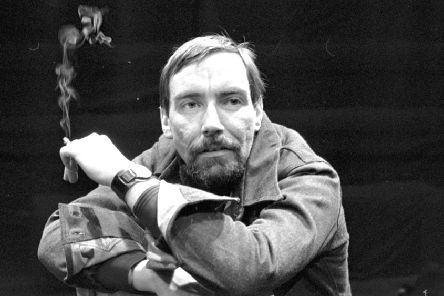 Scottish playwright Donald Campbell at the Traverse theatre for the production of his play The Jesuit in Edinburgh, May 1976