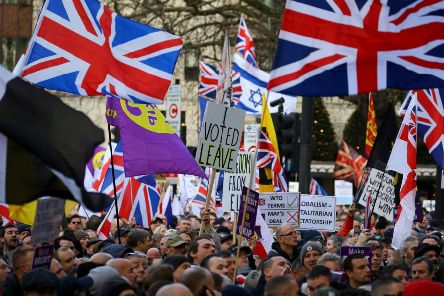 """People take part in a """"Brexit Betrayal"""" march and rally organised by Ukip in central London in December last year. Picture: PA"""