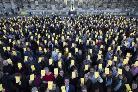 Happy faces all round? People celebrate the 500th anniversary of Thomas More's groundbreaking book Utopia which included the idea of a universal basic income (Picture: Peter Macdiarmid/Getty Images for Somerset House)