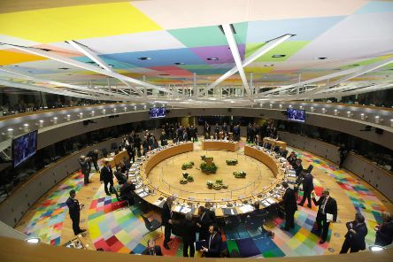 Members of the European Council attend a meeting on March  in Brussels on the second day of an EU summit focused on Brexit. Picture: Getty Images