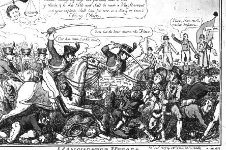 A cartoon showing citizens of Manchester who met at St Peter's Fields to demand the reform of parliament in 1819 and were cut down by the yeomanry (Picture: Hulton Archive/Getty Images)