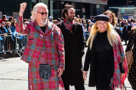 Billy Connolly leads the Tartan Day Parade with his wife, Pamela Stephenson. Picture: Benjamin Chateauvert/PA