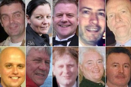 From left, top row, David Traill; PC Kirsty Nelis; PC Tony Collins; Gary Arthur; Samuel McGhee (Bottom: left to right) Colin Gibson; Robert Jenkins; Mark O'Prey; John McGarrigle; and Joe Cusker'. The 10 were killed in the Clutha tragedy