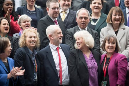Jeremy Corbyn and fellow Labour MPs welcome the newly elected MP for Newport West, Ruth Jones. Picture: PA